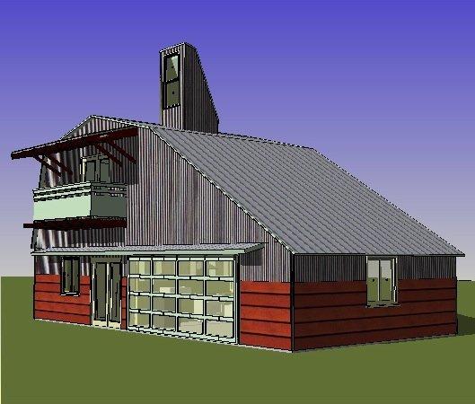 Planos de casas de campo eficiente de 1 dormitorio en 78 metros cuadrados