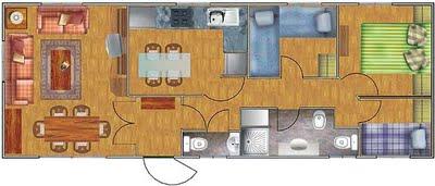 Planos de casas de 3 dormitorios en 52 metros cuadrados