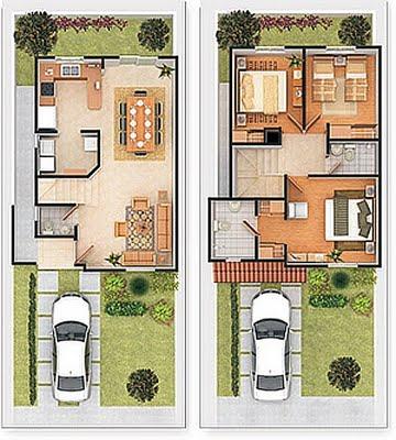 Plano de vivienda de 2 plantas con cochera, patio y 3 dormitorios – lote de 120m2