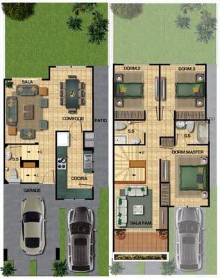Planos de casa de 141m2 para un terreno de 133 metros cuadrados con 3 dormitorios