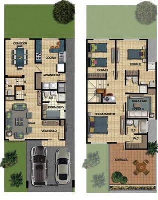 Plano de casa condominio de 187m2 en dos pisos y 150m2 de terreno