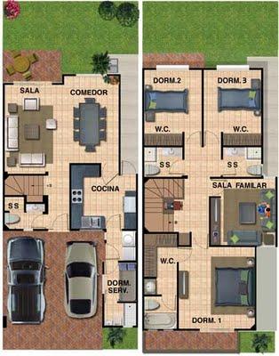 Planos de casa de 180 metros cuadrados con 133 m2 de terreno 3 dormitorios y cuarto de servicio