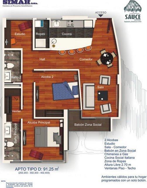Plano de vivienda pequeña gratis con dos habitaciones
