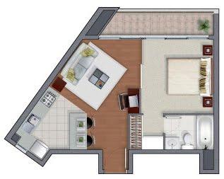Planos de departamentos de un solo dormitorio