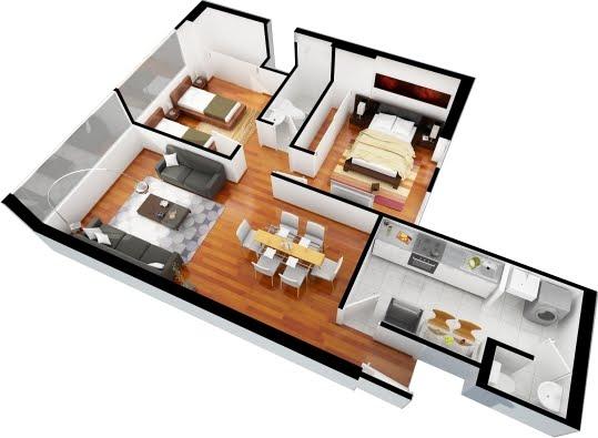 Planos de departamentos gratis de 3 dormitorios y 2 dormitorios en 3d