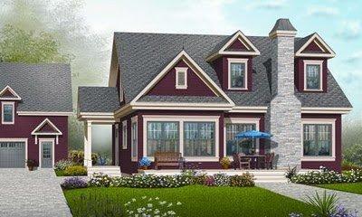 Planos de casas de 2 pisos, 3 habitaciones en 184 metros cuadrados