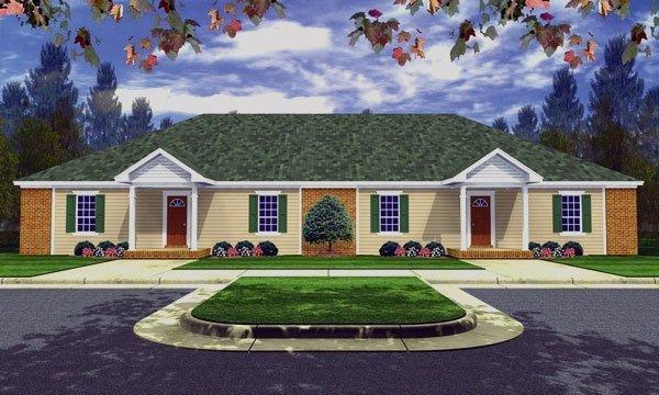 Plano de una casa con dos departamentos continuos