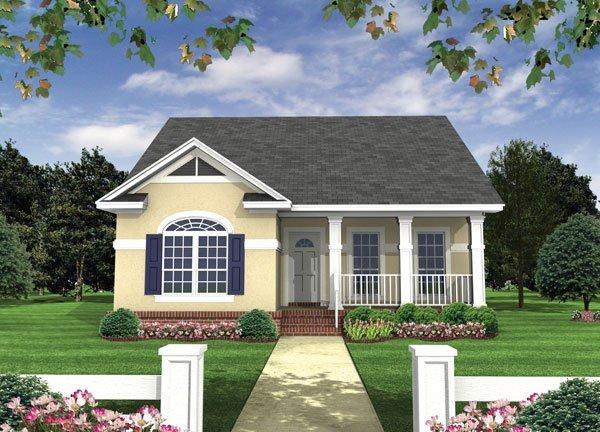 Plano de casa de un piso con 2 dormitorios y dos bares