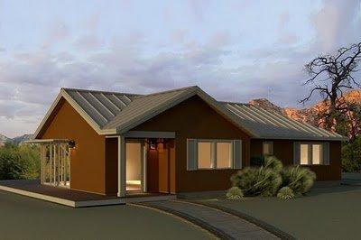 Plano de casa de 3 habitaciones en 151 metros cuadrados