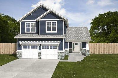Plano de casa de 2 pisos, 3 habitaciones en 174 metros cuadrados