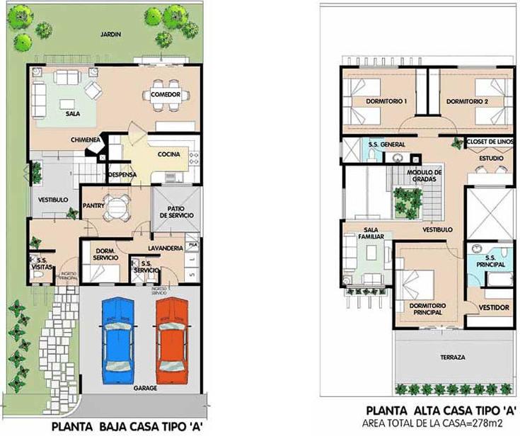 Plano de casa de dos plantas en 278 metros cuadrados