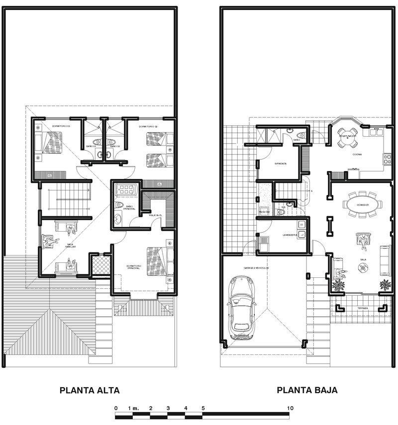 Plano de una casa colonial en dos pisos