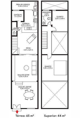 Plano de una casa de dos pisos en 65 m2
