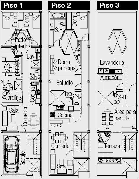 Plano de una casa de 3 pisos en 100 m2