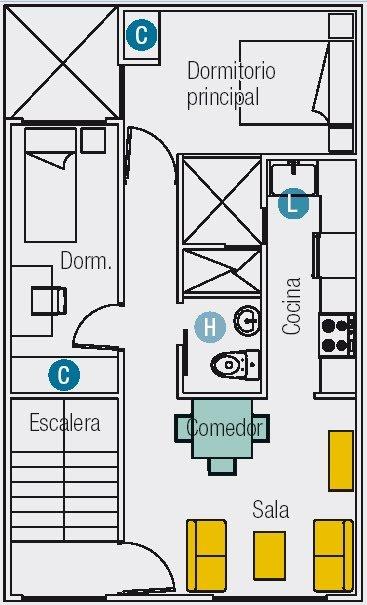 Planos de dos mini departamento en un area de 60m2