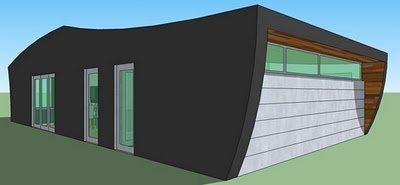 Plano de casa moderna de un dormitorio y 78 metros cuadrados