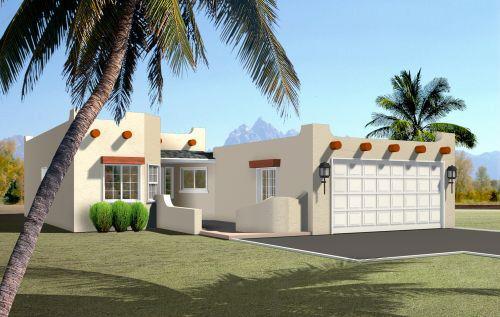 Plano de casa de un piso con 3 habitaciones