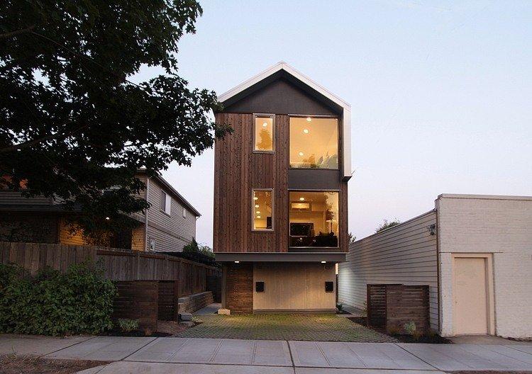 Plano de Casa Urbana dúplex con un estilo contemporáneo y práctico en Seattle