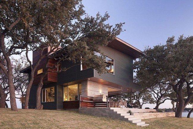 Plano de una casa con diseño contemporáneo tomando ventaja de exquisitos Vistas: Casa de lago LBJ